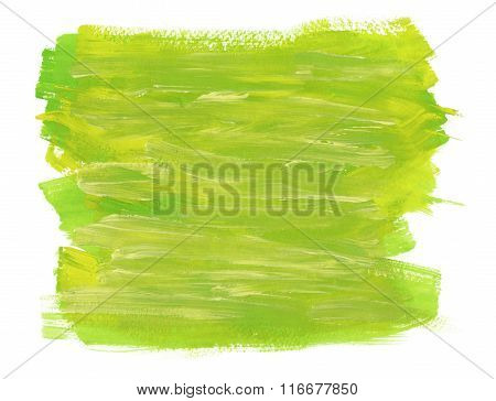 Abstract Green And Yellow Texture Of Brush Strokes On White backround