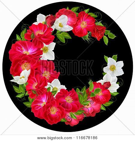 Flowers In A Circle. Round Form. Round Floral Background. Roses Are Red And White Flowers Anemones.