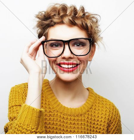 Portrait of a casual woman in glasses