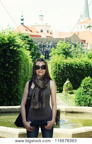 Young woman in Prague