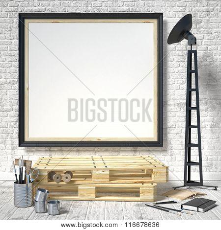 Mock up posters frames in art atelier 3D