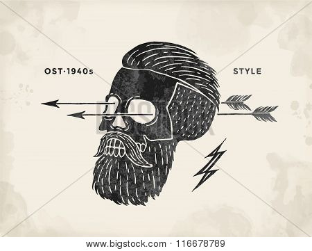 Poster Of Vintage Skull Hipster Label. Retro Old School Set For T-shirt Print. Vector Illustration.