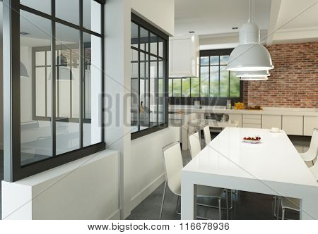 3D rendering of an artist loft with a magnificent integrated kitchen