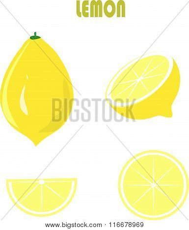 Yellow lemon, green roots, leaves, on white background, hand drawing, painting