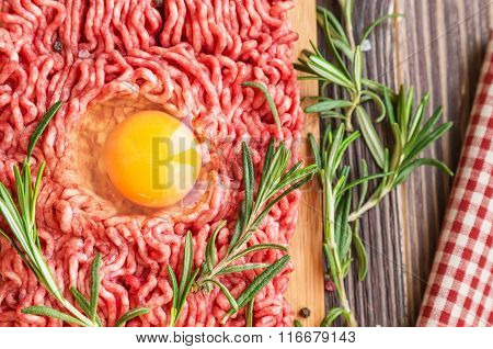 Fresh Ground Beef Meat With Egg And Seasonings
