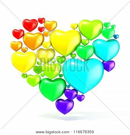 Sweet colorful beautiful hearts on white background arranged in shape of big heart. 3D