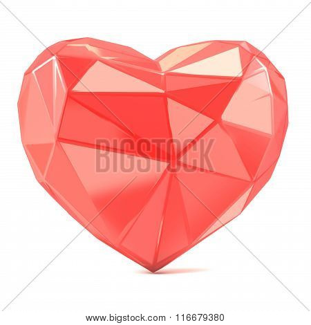 Triangulated glossy heart shape. 3D render