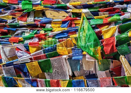 Buddhist prayer flags lungta with mantra