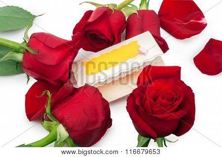 Red Roses Around Blank Gift Card