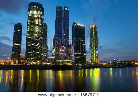 Moscow City (moscow International Business Center) At Night
