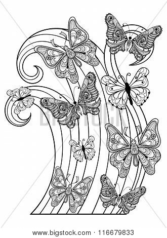 Zentangle vector flying Butterflies for adult anti stress colori