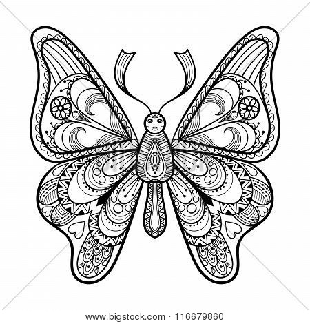 Zentangle vector black Butterfly for adult anti stress coloring
