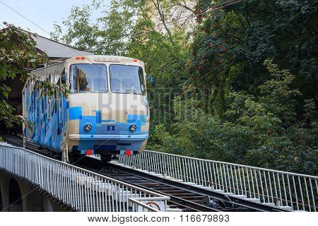 Kiev, Ukraine - September 19, 2015: Railway funicular descends on rails