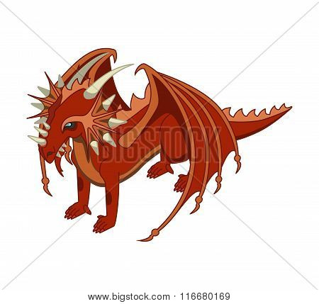 Red Dragon. Vector. Isometric