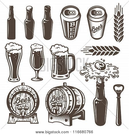Set of vintage beer and brewery elements