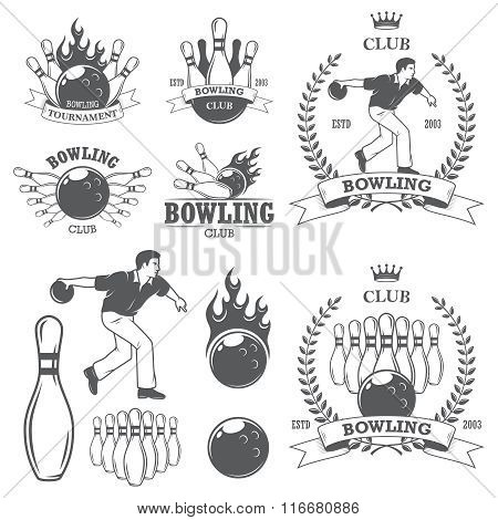 Set of black and white isolated bowling emblems, labels, badges