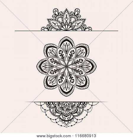 Vector henna ethnic mandala set, boho femine lace tattoo design