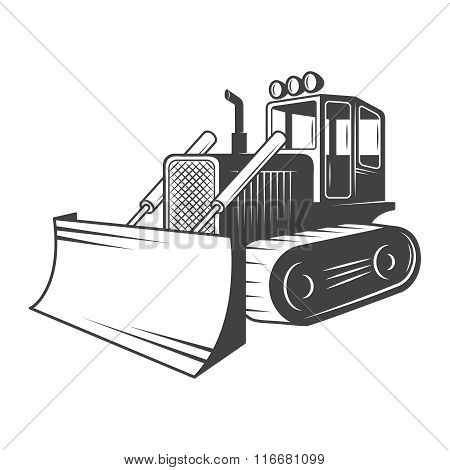 Vector illustration of bulldozer. Black and white