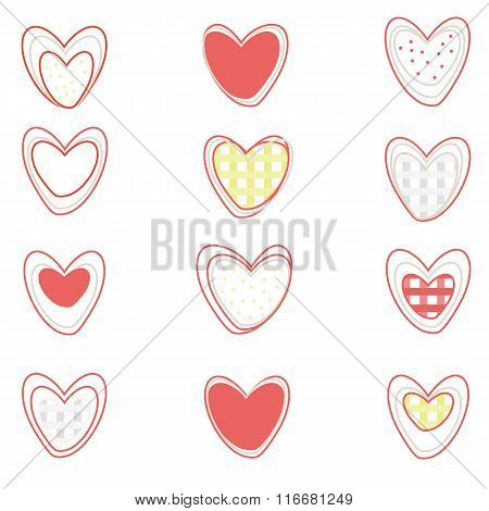 Vector hearts set on white background