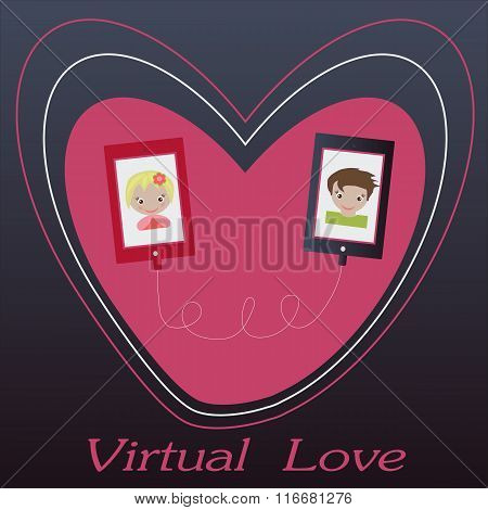Valentine's day illustration. Receiving or sending love emails for valentines day