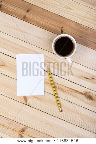 Blank Small Notepad And Coffee