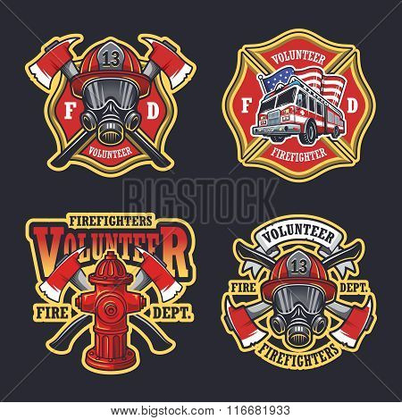 Set of firefighter emblems