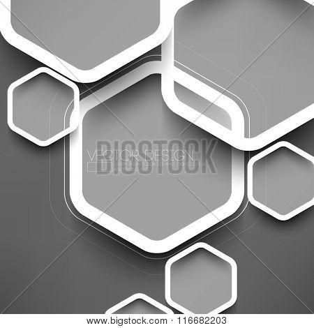 geometric hexagon overlapping on gray background