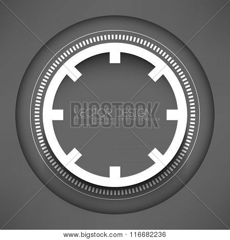 isolated technology round shape paper ring on gray background