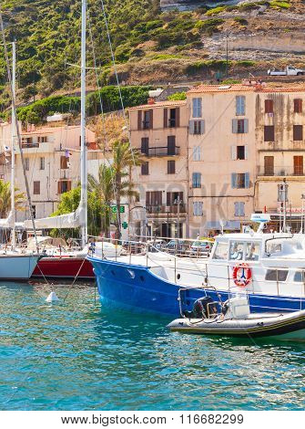 Embankment Of Small Resort Port Town Of Corsica