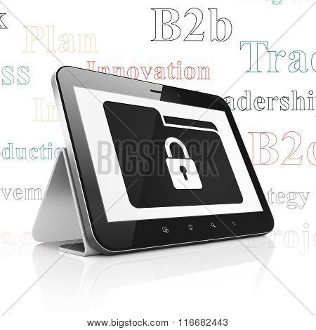 Finance concept: Tablet Computer with Folder With Lock on display