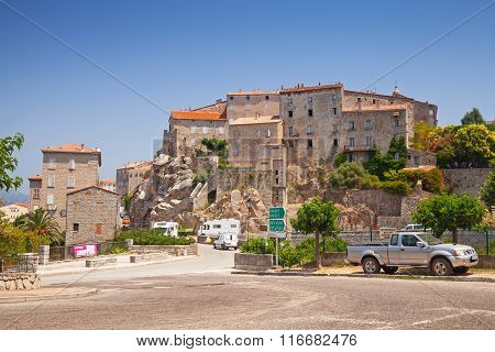 Stone Houses On Hill, Town Landscape, South Corsica