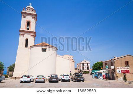 Corsica Island, Town Street View With Catholic Church