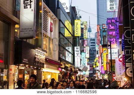 Seoul - March 7 2015: Myeong-dong Neon Lights In Seoul, South Korea On March 7, 2015.