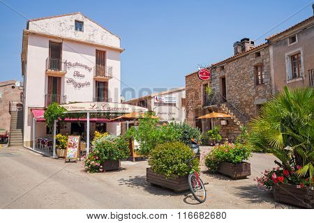 Small Corsican Town Street View With Pizzeria
