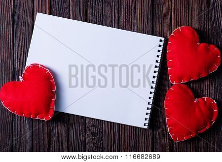 Note Book And Hearts