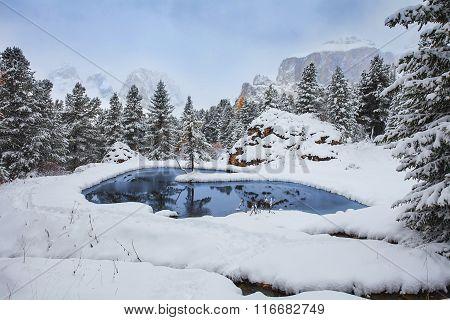 Romantic lake in the Dolomites