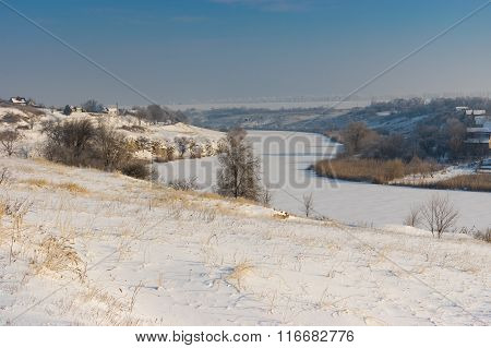 Winter landscape with Small river Sura