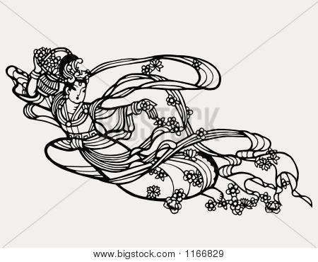 Chinese Paper Art Fairy Print