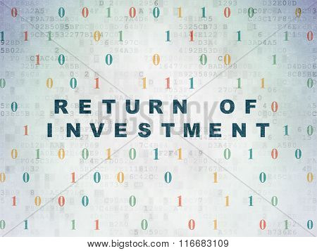 Business concept: Return of Investment on Digital Paper background