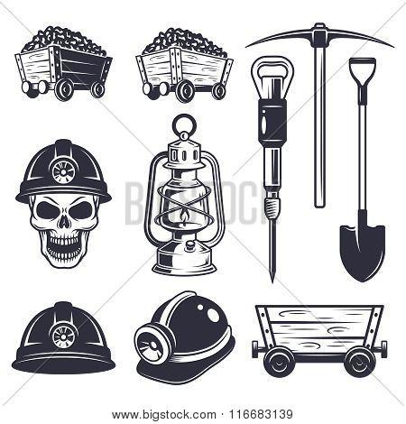 Set of vintage coal mining elements