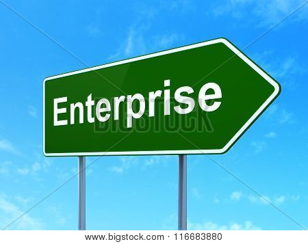 Finance concept: Enterprise on road sign background