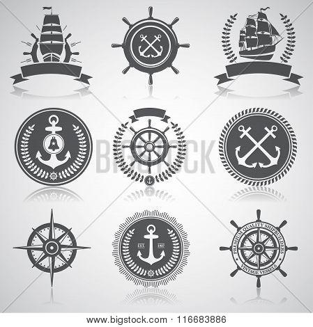 Set of nautical emblems, labels and esignaed elements,