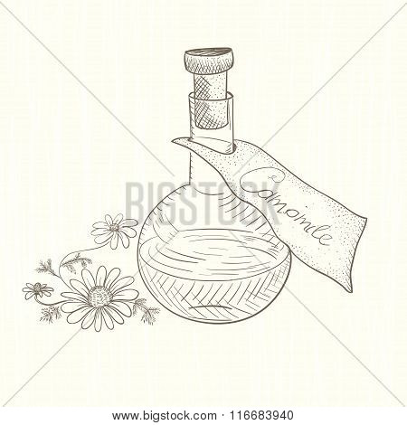 The flask with the extract. Chamomile.