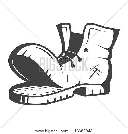 Vector illustration of old boot. Black and white
