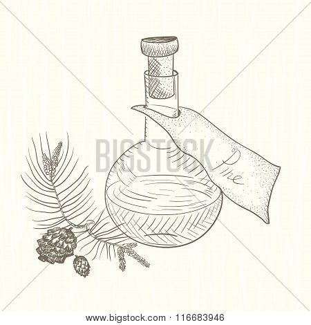 The flask with the extract. Pine.