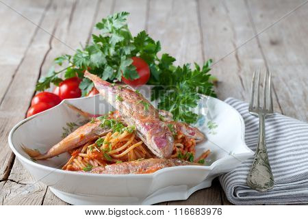 Spaghetti With Red Mullet Sauce