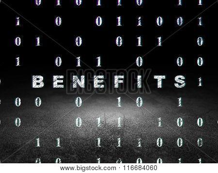 Business concept: Benefits in grunge dark room