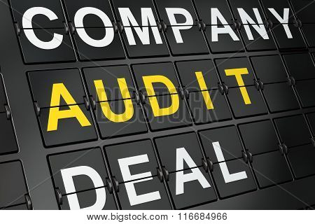 Finance concept: Audit on airport board background