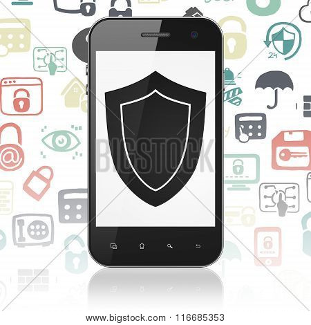 Security concept: Smartphone with Shield on display
