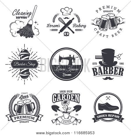 set of vintage workshop emblems